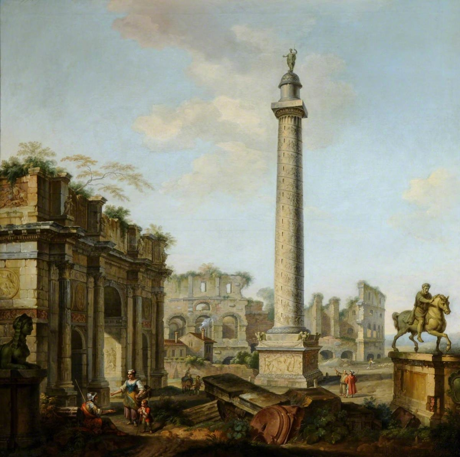 A Capriccio of Roman Ruins, with Arch of Constantine, Trajan's Column, the Colosseum, and the Statue of Marcus Aurelius