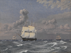 A Frigate and some other Ships Cruising