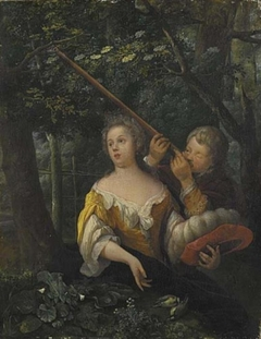 A Girl and a Boy Aiming at Birds with Pea-shooters