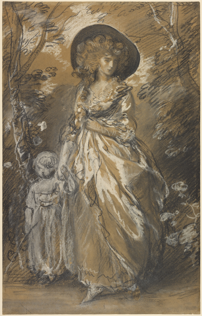 A Lady Walking in a Garden with a Child