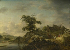 A Landscape with a Farm on the Bank of a River