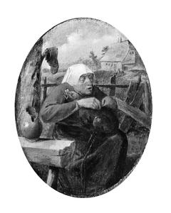 A Peasant Woman Picking Fleas off a Dog