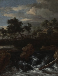 A Rocky River Landscape with a Waterfall