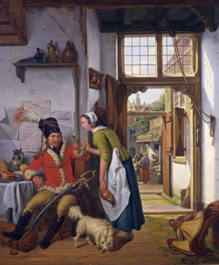 A soldier and a waitress in a tavern