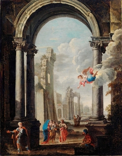 architectural capriccio with the Holy Family