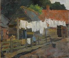 Boerderij met wasgoed aan de lijn