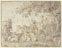 Boeren en vee bij een boerenwagen