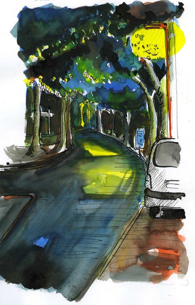 Boulevard de nuit à Cahors