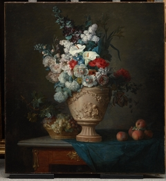 Bouquet of Flowers in a Terracotta Vase with Peaches and Grapes