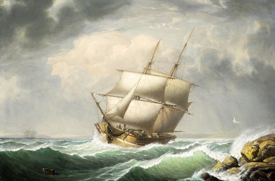 Brig Off the Maine Coast
