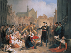 Burgomaster van der Werf offers his sword to the people of Leiden