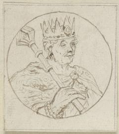 Buste van een gekroonde man met scepter in een cirkel