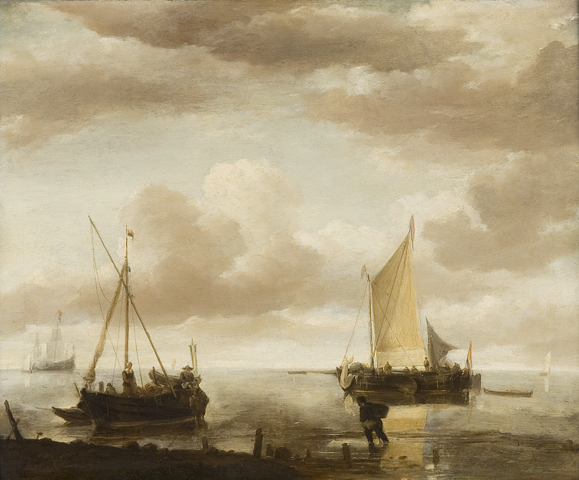 Calm sea with fishing boats