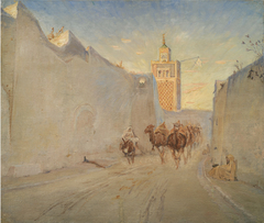 Camels in a Street in Tunisia