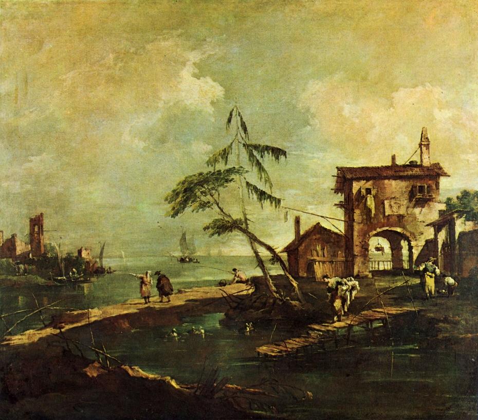 Capriccio: Dilapidated Church, Farmhouse and Human Figures by a River Lagoon