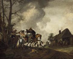 Cavalry Skirmish by a Farmhouse