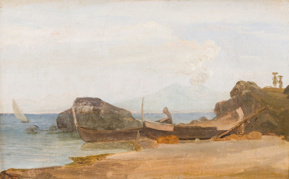 Coast of Capri with drawn boats