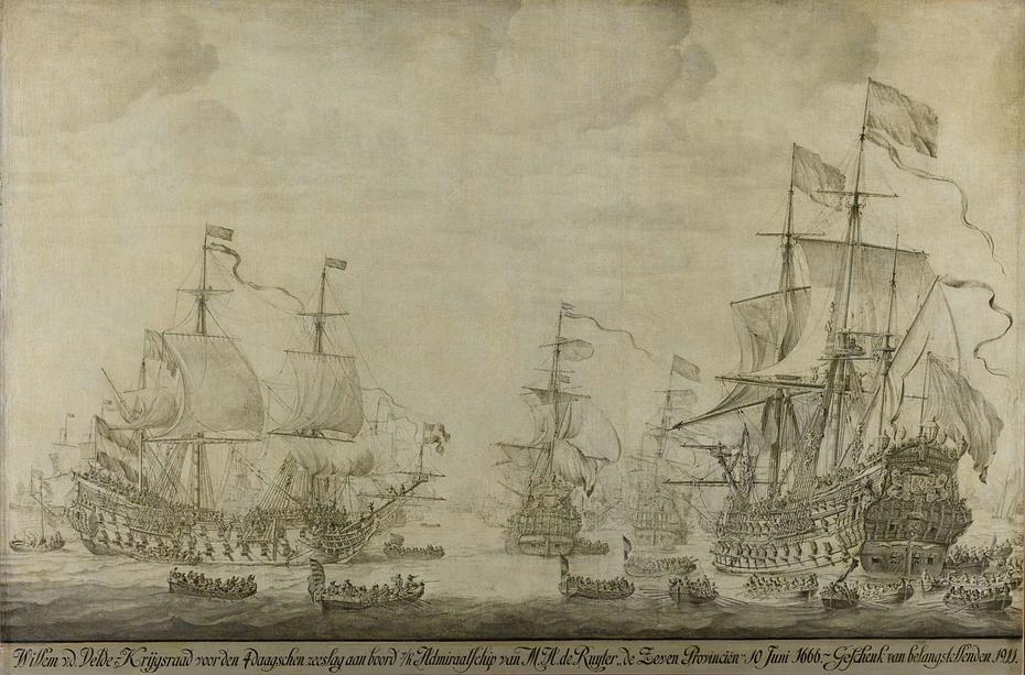 """Council of War aboard """"The Seven Provinces,"""" the Flagship of Michiel Adriaensz de Ruyter, 10 June 1666, preceding the Four Days' Battle"