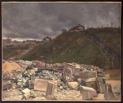 Dépôt de pavés à Montmartre [Paysage à la charrette]