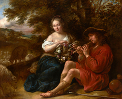 Elegant Shepherdess Listening to a Shepherd Playing the Recorder in an Arcadian Landscape