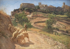 En hyrdedreng med sine får ved Cività d'Antino