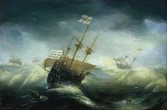 English Ships in a Rough Sea