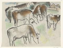 Enkele koeien in een landschap