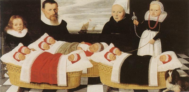 Family portrait with three cradles