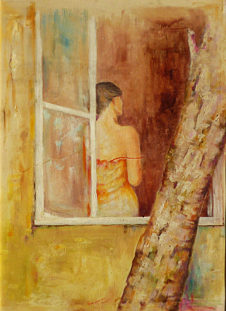 female figure on the window