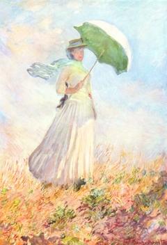 Essai de figure en plein-air : Femme à l'ombrelle tournée vers la droite