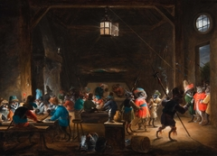 Guardroom scene with monkey soldiers