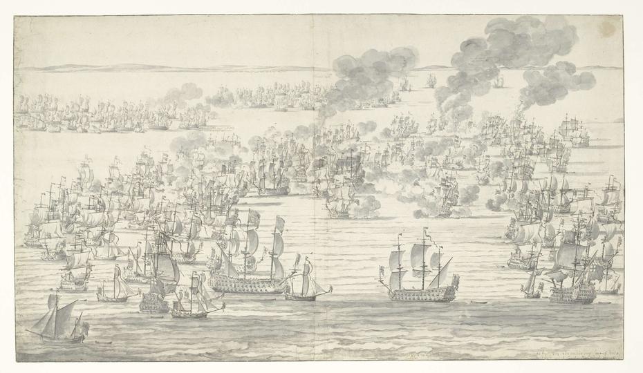 Het einde van de Zeeslag bij Solebay, 7 juni 1672
