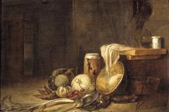 Interieur met stilleven van groente en vaatwerk