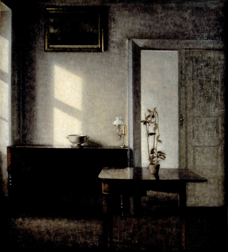 Interior with potted plant on card table, Bredgade 25