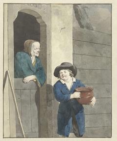 Jongen met een pot bij een vrouw leunend op een onderdeur