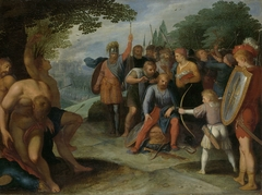 Julius Civilis Having his Hair Cut after the Fall of Vetera, while his Son Kills Some of the Captives