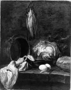 Kitchen Utensils and Three Herrings or Whitings