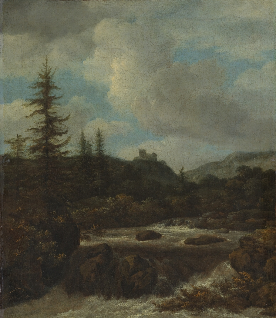 Landscape with a Waterfall near a Castle
