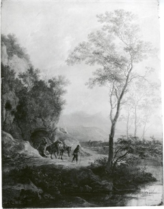 Landscape with trees and mule drivers