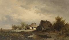 Landschap met hutten op de heide