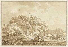 Landschap met vee en een boerderij