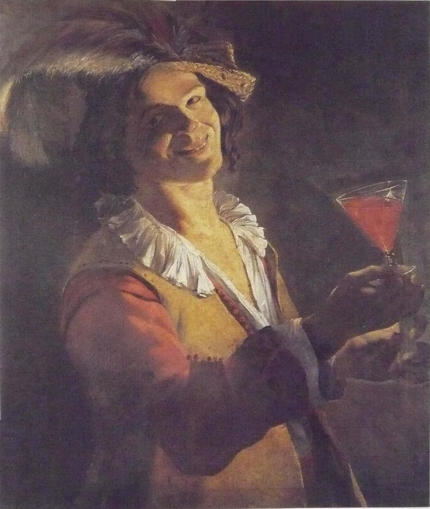 Laughing boy with wineglass