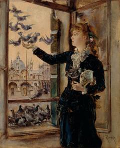 Mädchen an einem Fenster zum Markusplatz, Tauben fütternd