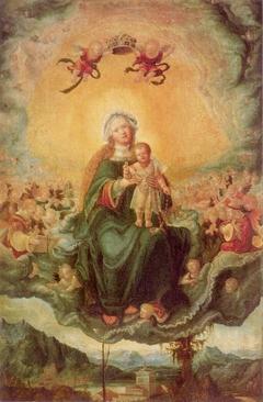 Maria mit dem Kinde in der Glorie; (Rückseite: Maria Magdalena am Grab Christi)