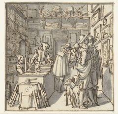 Mensen en twee honden in een boekenwinkel