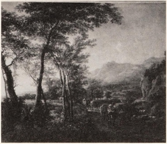 Mountain landscape with a mulerider