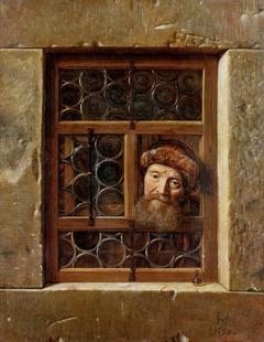 Old man in a window