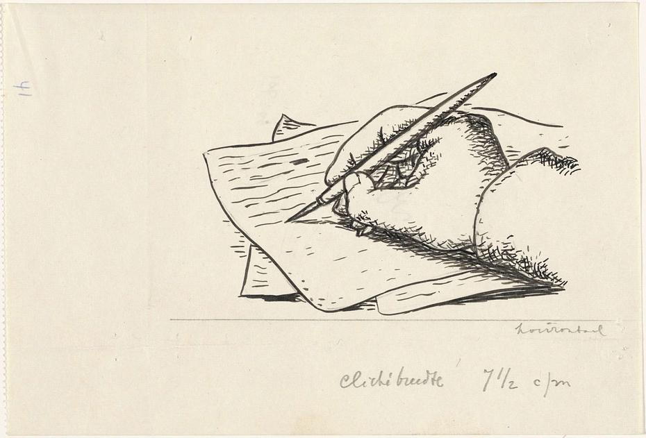 Ontwerp boekillustratie voor Alexander Cohen's Van Anarchie tot Monarchie: Schrijvende hand