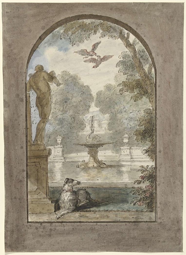 Ontwerp voor een kamerbeschildering met gezicht in een tuin met liggende hond, fontein en standbeeld