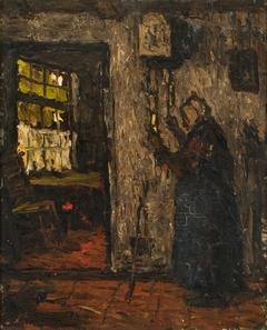 Oude vrouw bij een klok